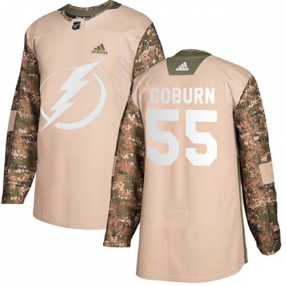 Men's Authentic Tampa Bay Lightning Braydon Coburn Adidas Veterans Day Practice Jersey - Camo