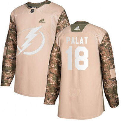 Men's Authentic Tampa Bay Lightning Ondrej Palat Adidas Veterans Day Practice Jersey - Camo