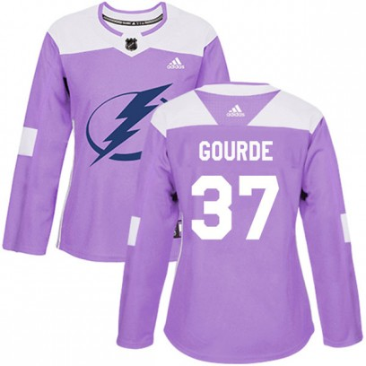Women's Authentic Tampa Bay Lightning Yanni Gourde Adidas Fights Cancer Practice Jersey - Purple