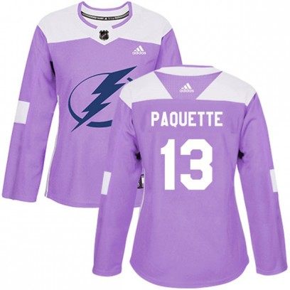 Women's Authentic Tampa Bay Lightning Cedric Paquette Adidas Fights Cancer Practice Jersey - Purple