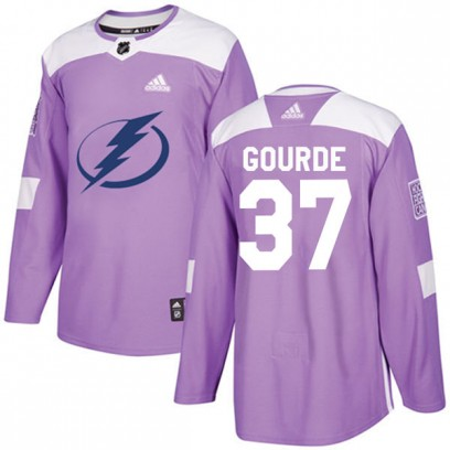 Men's Authentic Tampa Bay Lightning Yanni Gourde Adidas Fights Cancer Practice Jersey - Purple