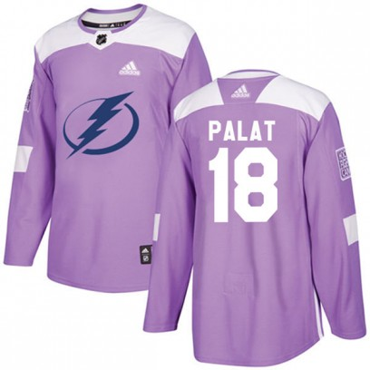 Men's Authentic Tampa Bay Lightning Ondrej Palat Adidas Fights Cancer Practice Jersey - Purple