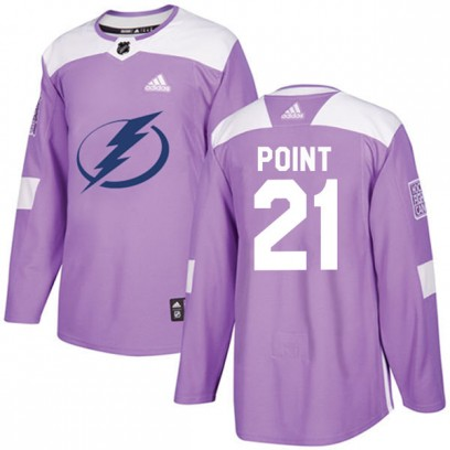 Men's Authentic Tampa Bay Lightning Brayden Point Adidas Fights Cancer Practice Jersey - Purple