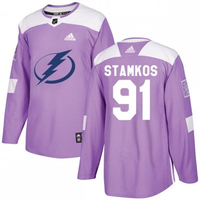 Men's Authentic Tampa Bay Lightning Steven Stamkos Adidas Fights Cancer Practice Jersey - Purple