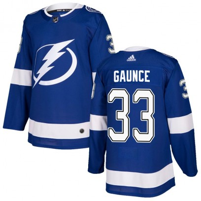 Men's Authentic Tampa Bay Lightning Cameron Gaunce Adidas Home Jersey - Blue