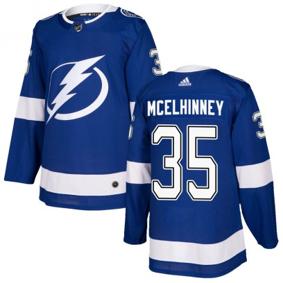 Men's Authentic Tampa Bay Lightning Curtis McElhinney Adidas Home Jersey - Blue