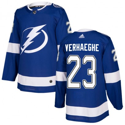 Men's Authentic Tampa Bay Lightning Carter Verhaeghe Adidas Home Jersey - Blue