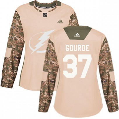 Women's Authentic Tampa Bay Lightning Yanni Gourde Adidas Veterans Day Practice Jersey - Camo