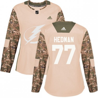 Women's Authentic Tampa Bay Lightning Victor Hedman Adidas Veterans Day Practice Jersey - Camo