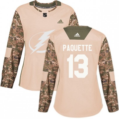 Women's Authentic Tampa Bay Lightning Cedric Paquette Adidas Veterans Day Practice Jersey - Camo