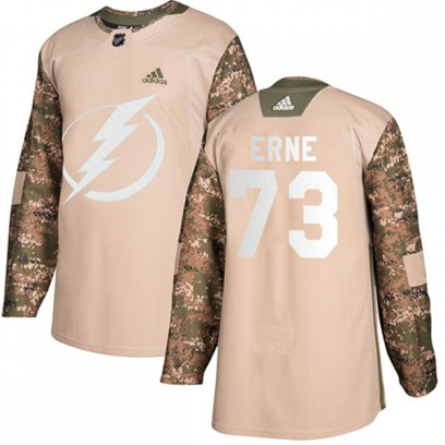 Youth Authentic Tampa Bay Lightning Adam Erne Adidas Veterans Day Practice Jersey - Camo