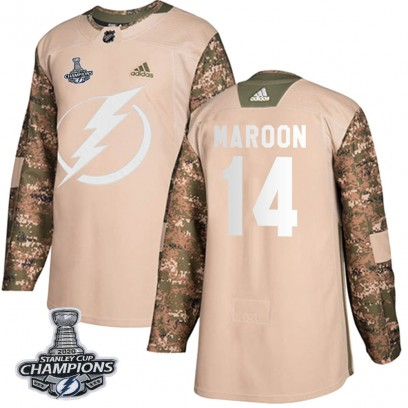 Men's Authentic Tampa Bay Lightning Patrick Maroon Adidas Veterans Day Practice 2020 Stanley Cup Champions Jersey - Camo