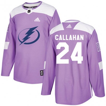 Youth Authentic Tampa Bay Lightning Ryan Callahan Adidas Fights Cancer Practice Jersey - Purple