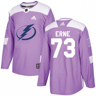 Youth Authentic Tampa Bay Lightning Adam Erne Adidas Fights Cancer Practice Jersey - Purple