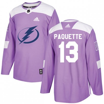 Youth Authentic Tampa Bay Lightning Cedric Paquette Adidas Fights Cancer Practice Jersey - Purple