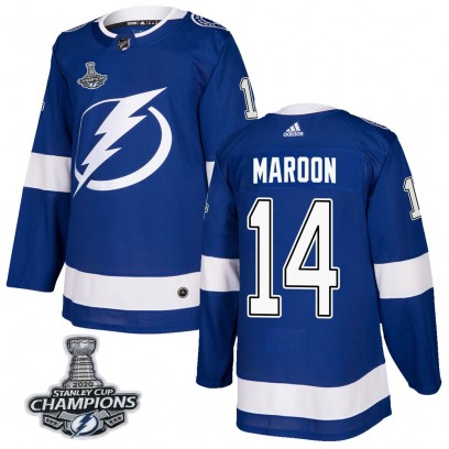 Men's Authentic Tampa Bay Lightning Patrick Maroon Adidas Home 2020 Stanley Cup Champions Jersey - Blue
