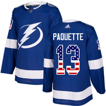 Men's Authentic Tampa Bay Lightning Cedric Paquette Adidas USA Flag Fashion Jersey - Blue