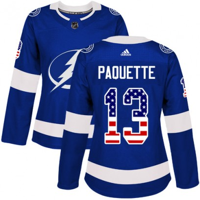 Women's Authentic Tampa Bay Lightning Cedric Paquette Adidas USA Flag Fashion Jersey - Blue