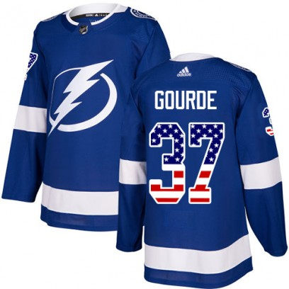 Men's Authentic Tampa Bay Lightning Yanni Gourde Adidas USA Flag Fashion Jersey - Blue