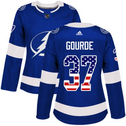 Women's Authentic Tampa Bay Lightning Yanni Gourde Adidas USA Flag Fashion Jersey - Blue